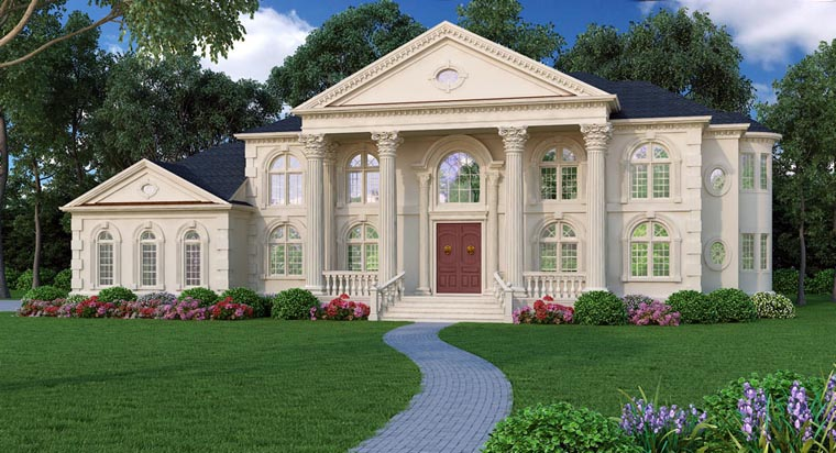 Colonial Greek Revival Plantation House Plan 72163 Elevation