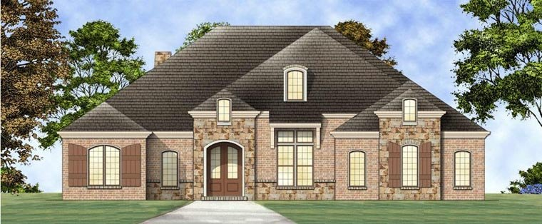 European, House Plan 72164 with 3 Beds, 3 Baths, 2 Car Garage Elevation