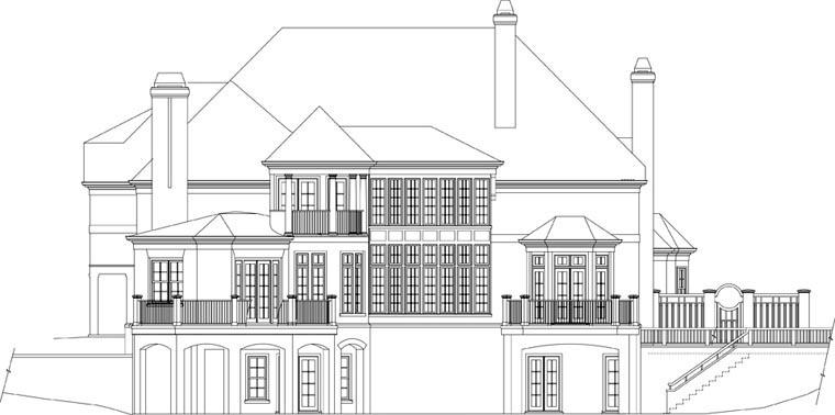 European House Plan 72165 Rear Elevation