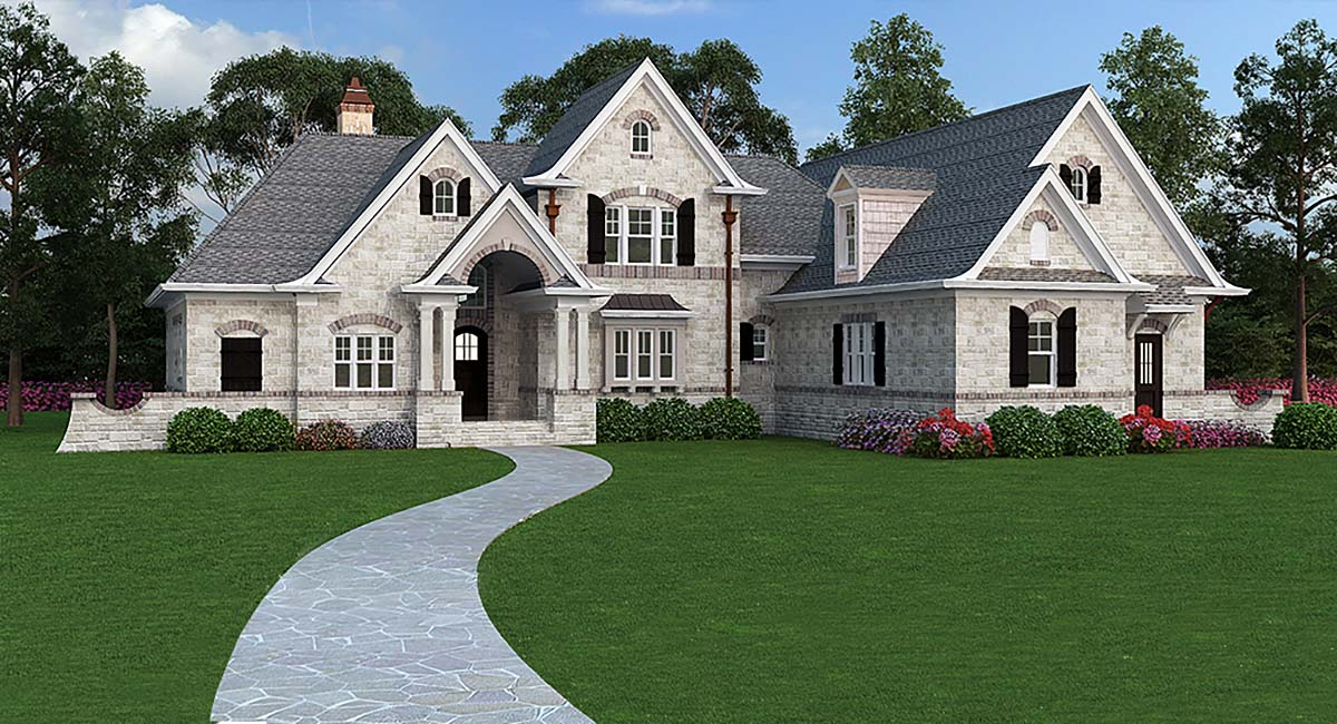 European , French Country , Traditional House Plan 72166 with 3 Beds, 2 Baths, 2 Car Garage Elevation