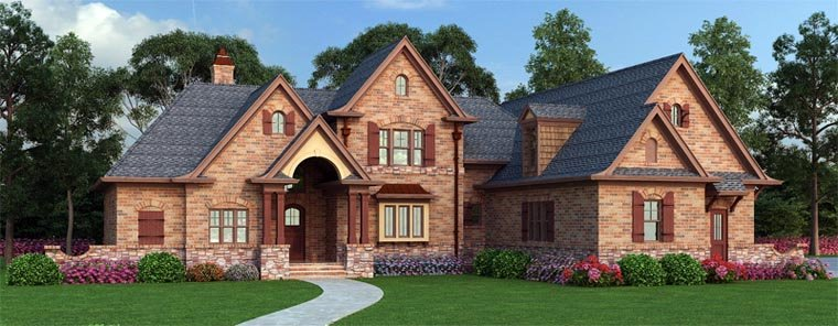 European, French Country, Traditional House Plan 72166 with 3 Beds, 2 Baths, 2 Car Garage Picture 1