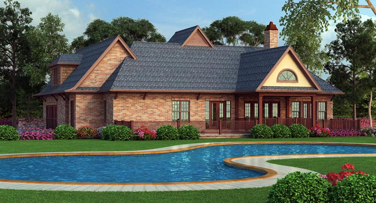 European, French Country, Traditional House Plan 72166 with 3 Beds, 2 Baths, 2 Car Garage Picture 2