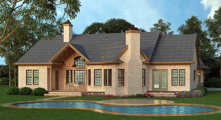 Ranch House Plan 72168 Rear Elevation