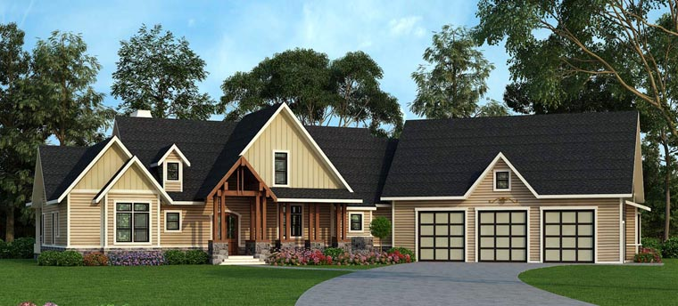 Country, Craftsman, Farmhouse, Traditional House Plan 72170 with 3 Beds, 3 Baths, 3 Car Garage Elevation