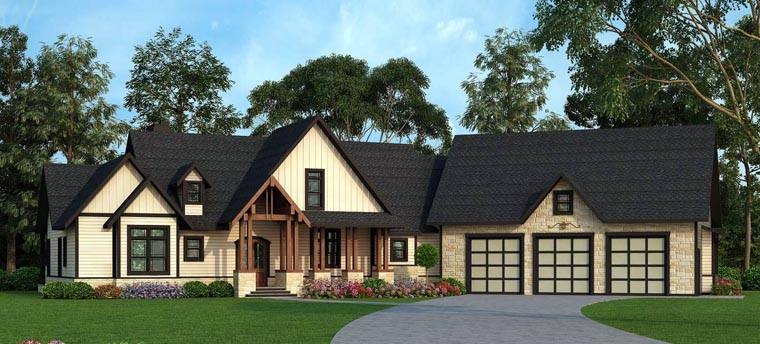 Country Craftsman Farmhouse Traditional House Plan 72170