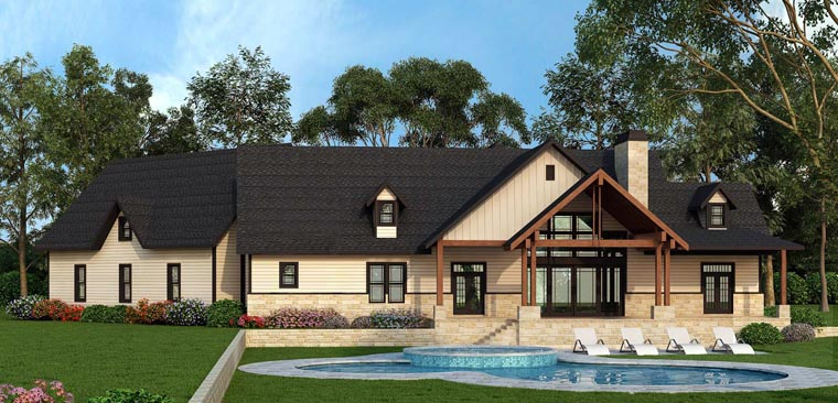 Country, Craftsman, Farmhouse, Traditional House Plan 72170 with 3 Beds, 3 Baths, 3 Car Garage Rear Elevation