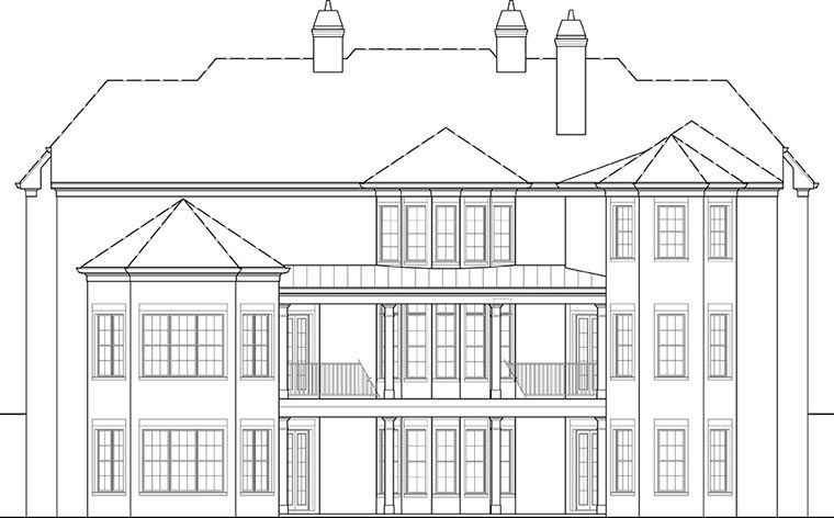 European, French Country House Plan 72171 with 6 Beds, 7 Baths, 4 Car Garage Rear Elevation
