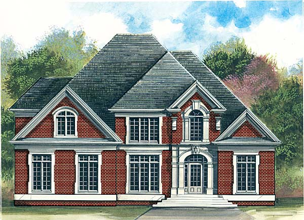 Colonial, European, Greek Revival House Plan 72204 with 4 Beds, 4 Baths, 3 Car Garage Elevation