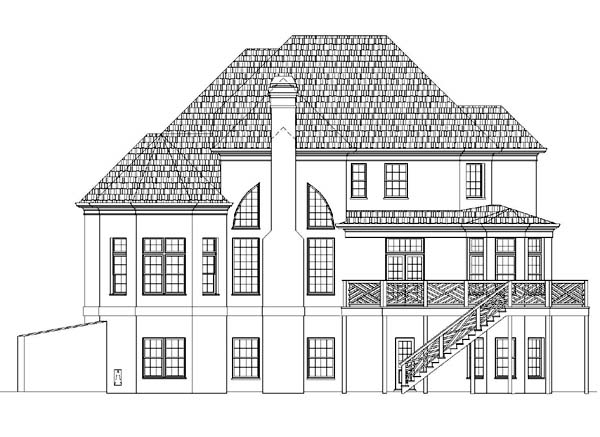 Colonial, European, Greek Revival House Plan 72204 with 4 Beds, 4 Baths, 3 Car Garage Rear Elevation