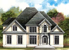 House Plan 72206 | Colonial European Greek Revival Style Plan with 3429 Sq Ft, 4 Bedrooms, 4 Bathrooms, 3 Car Garage Elevation