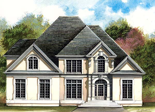 Colonial, European, Greek Revival House Plan 72206 with 4 Beds, 4 Baths, 3 Car Garage Elevation