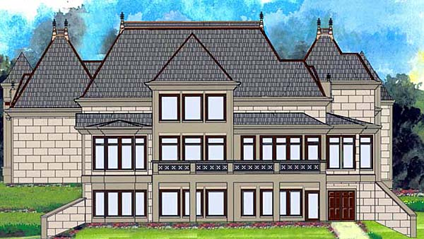 European, Greek Revival House Plan 72212 with 4 Beds , 5 Baths , 3 Car Garage Rear Elevation