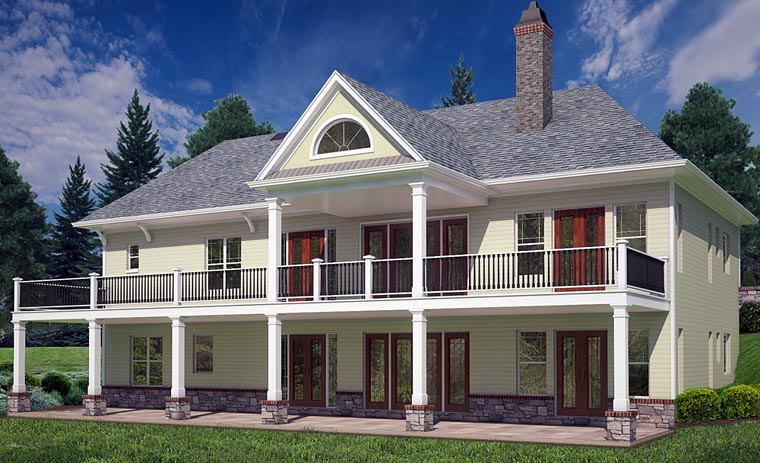 Cottage Craftsman Traditional House Plan 72220 Rear Elevation