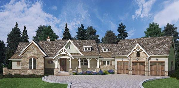 Craftsman, European, Traditional House Plan 72221 with 3 Beds, 4 Baths, 3 Car Garage Elevation