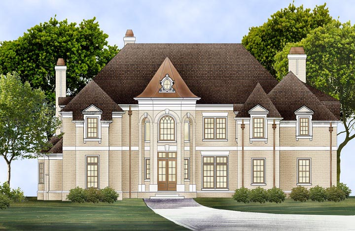 European, Greek Revival House Plan 72224 with 4 Beds, 6 Baths, 3 Car Garage Elevation