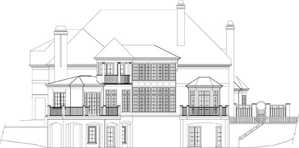 European, Greek Revival House Plan 72224 with 4 Beds, 6 Baths, 3 Car Garage Rear Elevation