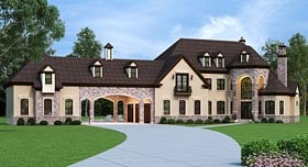 French Country , European House Plan 72226 with 5 Beds, 5 Baths, 5 Car Garage Elevation