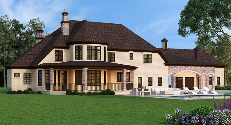 French Country , European House Plan 72226 with 5 Beds, 5 Baths, 5 Car Garage Rear Elevation
