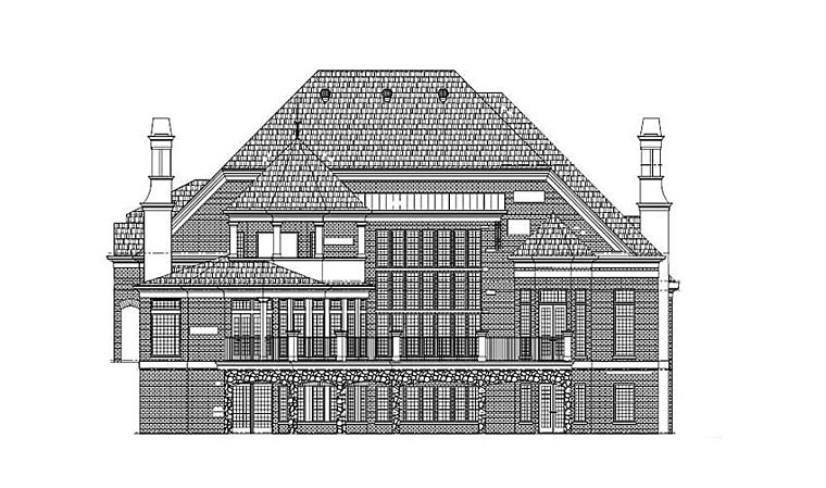 European Rear Elevation of Plan 72228