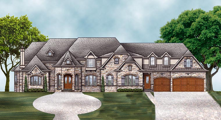 European, French Country House Plan 72230 with 4 Beds, 5 Baths, 3 Car Garage Elevation