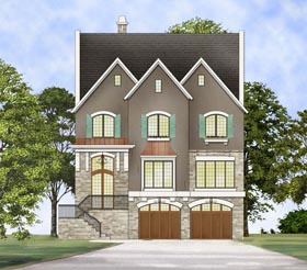 House Plan 72236 | European Traditional Style Plan with 3219 Sq Ft, 3 Bedrooms, 4 Bathrooms, 2 Car Garage Elevation