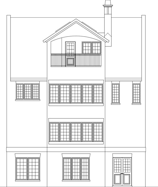 European Traditional Rear Elevation of Plan 72236