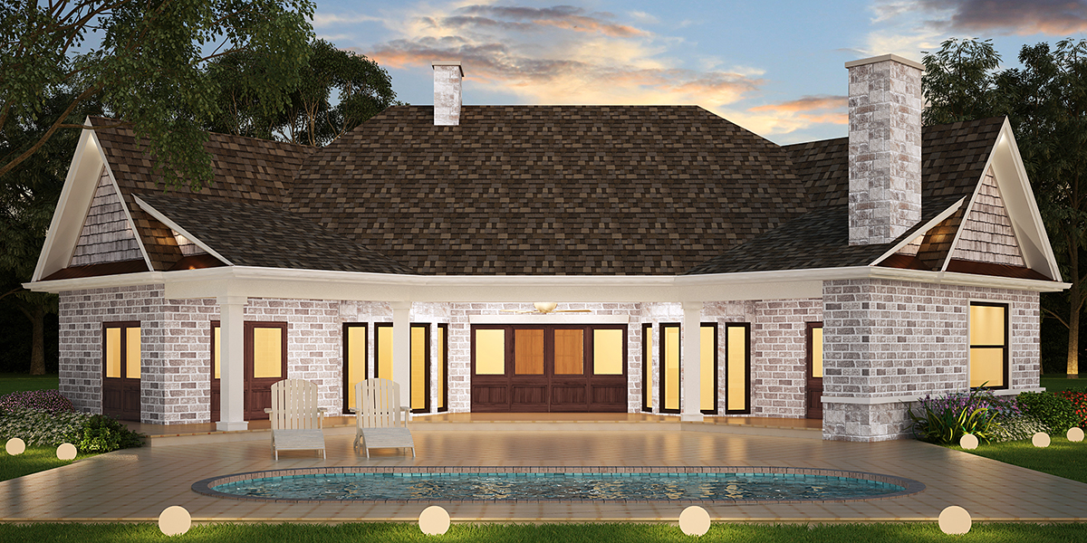 Country Craftsman Traditional House Plan 72238 Rear Elevation