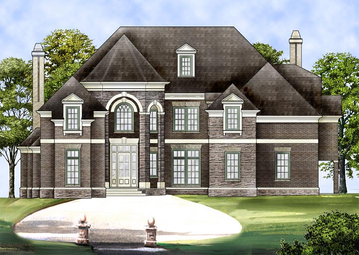 European House Plan 72240 with 3 Beds, 5 Baths, 3 Car Garage Elevation