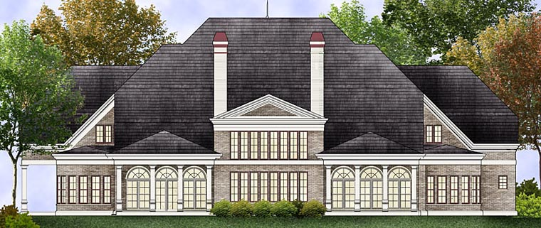 House Plan 72241 | European Style Plan with 7503 Sq Ft, 5 Bedrooms, 7 Bathrooms, 2 Car Garage Rear Elevation