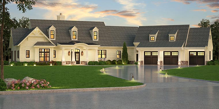 Southern, Traditional House Plan 72245 with 3 Beds, 3 Baths, 3 Car Garage Elevation