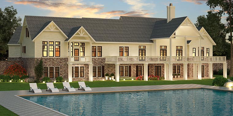 Southern, Traditional, House Plan 72245 with 3 Beds, 3 Baths, 3 Car Garage Rear Elevation