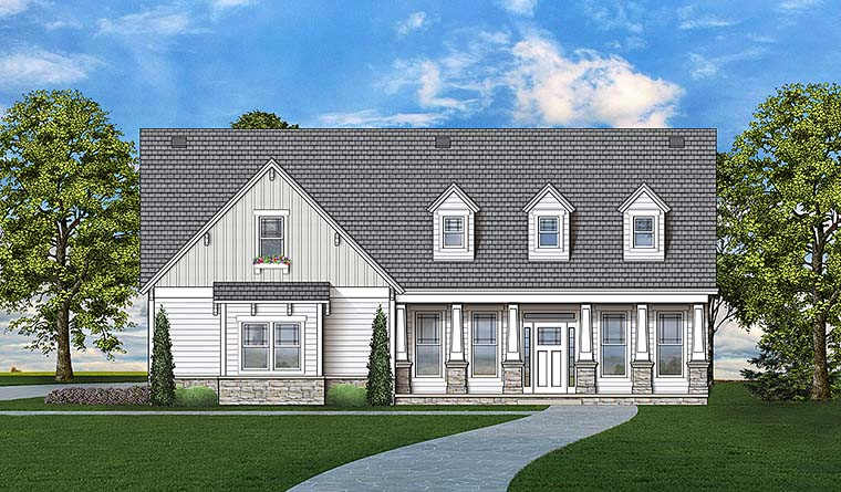 Colonial, Country, Craftsman, Southern House Plan 72247 with 3 Beds, 3 Baths, 2 Car Garage Elevation