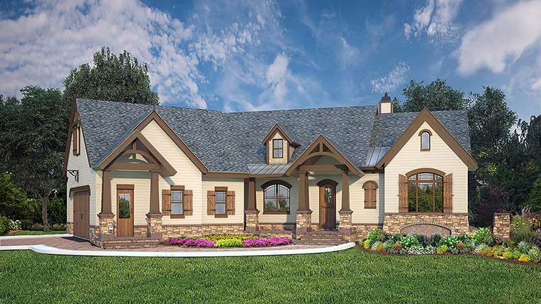Country, Craftsman House Plan 72248 with 3 Beds, 3 Baths, 2 Car Garage Elevation