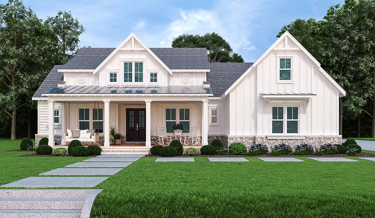 Country , Modern Farmhouse , Modern , One-Story House Plan 72250 with 3 Beds, 4 Baths, 2 Car Garage Elevation