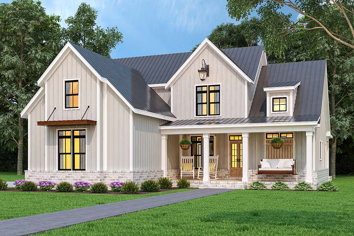 Country, Farmhouse, Southern House Plan 72252 with 3 Beds, 4 Baths, 2 Car Garage Picture 1