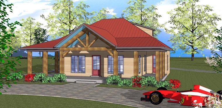 Cottage, Florida, Southern House Plan 72310 with 2 Beds, 1 Baths Elevation