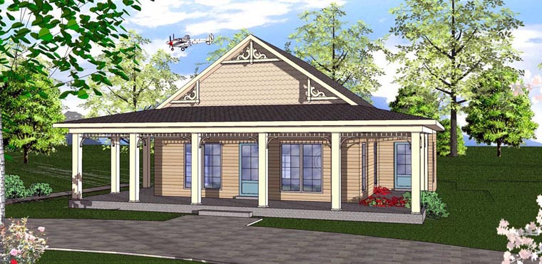 Cottage, Florida, Southern House Plan 72313 with 2 Beds, 1 Baths Elevation