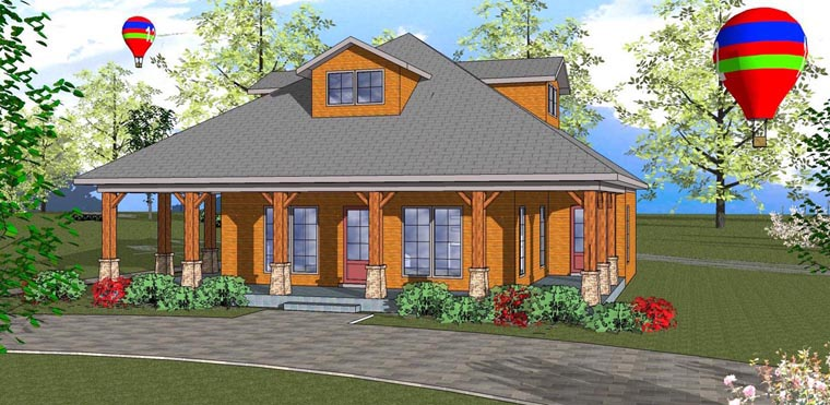 Cottage Florida Southern Elevation of Plan 72314