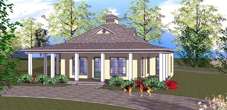 Cottage , Florida , Southern House Plan 72315 with 2 Beds, 1 Baths Elevation