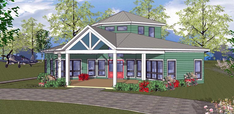 House Plan 72328 | Cabin, Cottage, Southern Style House Plan with 966 Sq Ft, 2 Bed, 1 Bath Elevation