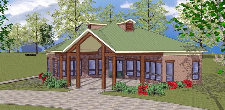 Cabin , Cottage , Southern House Plan 72330 with 2 Beds, 1 Baths Elevation