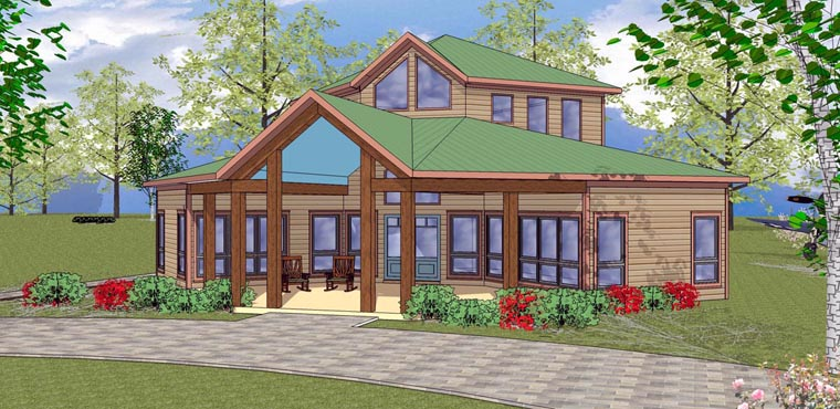 Cabin , Cottage , Southern House Plan 72332 with 2 Beds, 1 Baths Elevation