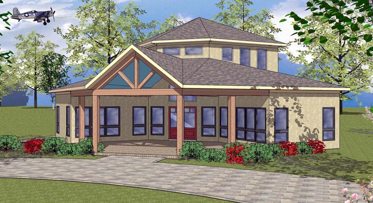 Cabin, Cottage, Southern House Plan 72333 with 2 Beds, 1 Baths Elevation