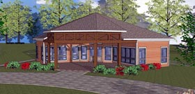 Southern , Cottage , Cabin House Plan 72334 with 2 Beds, 1 Baths Elevation