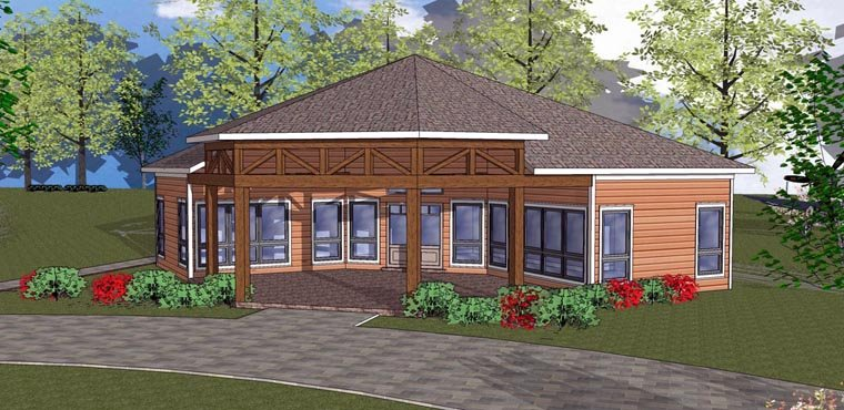 Cabin, Cottage, Southern House Plan 72334 with 2 Beds, 1 Baths Elevation