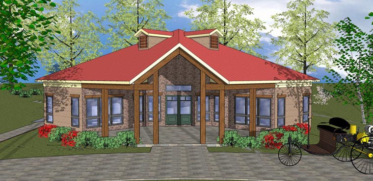 Cabin, Cottage, Southern House Plan 72335 with 2 Beds, 1 Baths Elevation