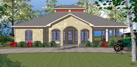 House Plan 72347 | Coastal, Southern Style House Plan with 1419 Sq Ft, 2 Bed, 3 Bath Elevation