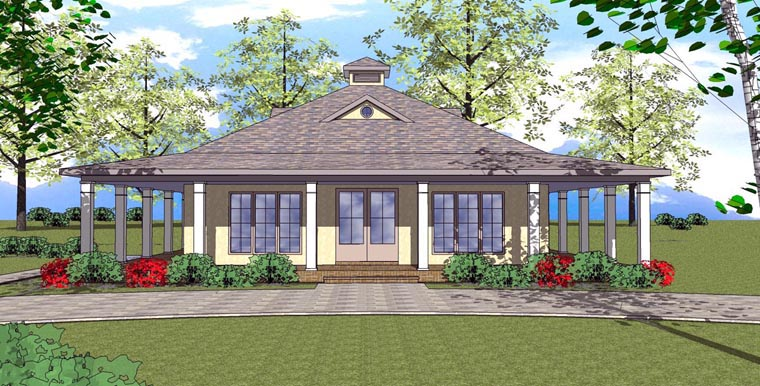 Cottage Florida Southern Elevation of Plan 72359