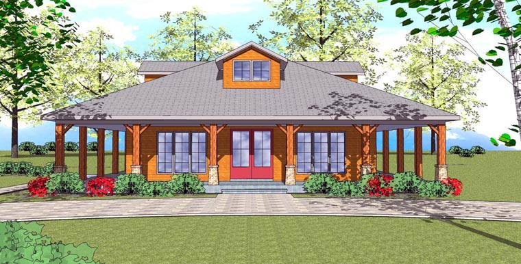 Cottage Florida Southern Elevation of Plan 72360