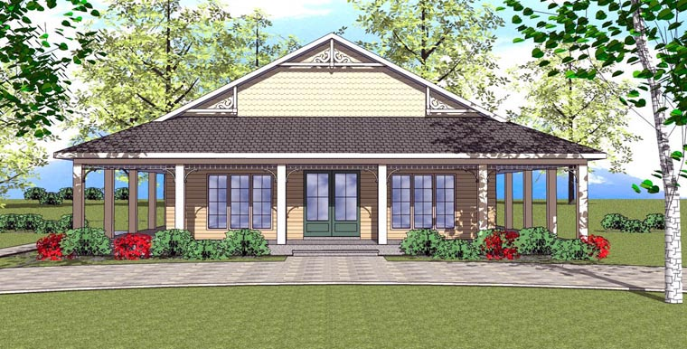 Cottage, Florida, Southern House Plan 72362 with 1 Beds, 2 Baths Elevation